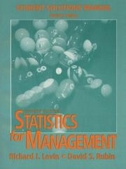 Cover of: Statistics for Management | Richard I. Levin
