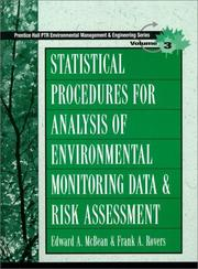 Cover of: Statistical procedures for analysis of environmental monitoring data and risk assessment