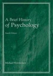 Cover of: A brief history of psychology