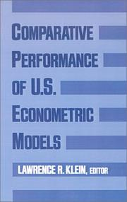 Cover of: Comparative performance of U.S. econometric models