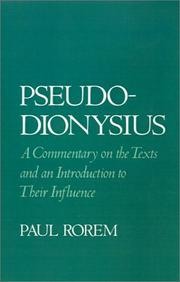 Cover of: Pseudo-Dionysius