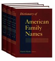 Cover of: Dictionary of American Family Names