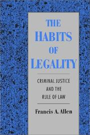 Cover of: The habits of legality