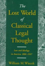 Cover of: The Lost World of Classical Legal Thought