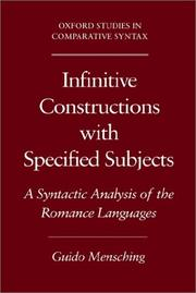 Cover of: Infinitive constructions with specified subjects | Guido Mensching