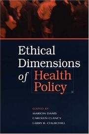 Cover of: Ethical Dimensions of Health Policy |