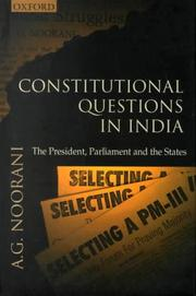 Cover of: Constitutional questions in India