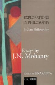 Cover of: Explorations in Indian Philosophy: Essays by J. N. Mohanty Volume 1
