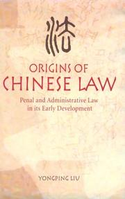 Cover of: Origins of Chinese Law