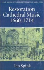 Cover of: Restoration cathedral music, 1660-1714