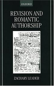 Cover of: Revision and Romantic Authorship | Zachary Leader