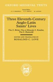 Cover of: Three Eleventh-Century Anglo-Latin Saints
