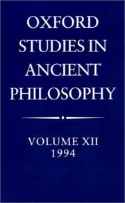 Cover of: Oxford Studies in Ancient Philosophy: Volume XII | C. C. W. Taylor
