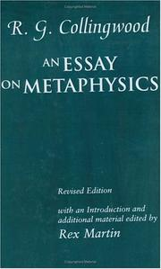 Cover of: An essay on metaphysics