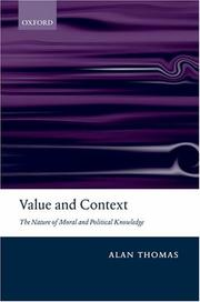 Cover of: Value and Context | Alan Thomas