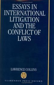Cover of: Essays in international litigation and the conflict of laws