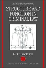 Cover of: Structure and function in criminal law