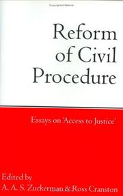 Cover of: Reform of civil procedure |