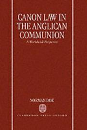 Cover of: Canon law in the Anglican communion