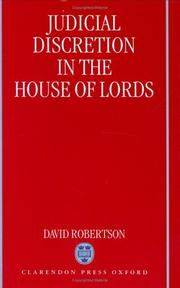 Cover of: Judicial discretion in the House of Lords