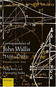 Cover of: The correspondence of John Wallis