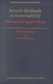 Cover of: Borel's methods of summability