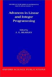 Cover of: Advances in linear and integer programming |