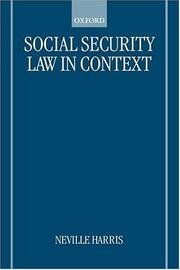 Cover of: Social security law in context | Neville S. Harris
