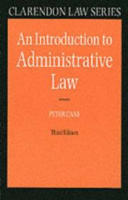 Cover of: An Introduction to Administrative Law (Clarendon Law Series) | Peter Cane