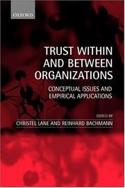 Cover of: Trust within and between Organizations |