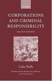 Cover of: Corporations and criminal responsibility | Celia Wells