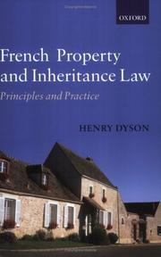 Cover of: French Property and Inheritance Law | Henry Dyson