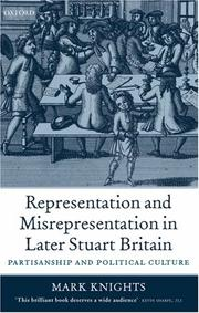 Cover of: Representation and Misrepresentation in Later Stuart Britain | Mark Knights
