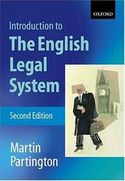 Cover of: An introduction to the English legal system | Martin Partington