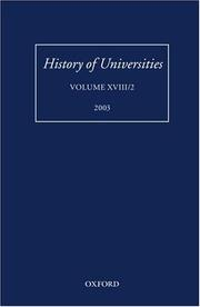 Cover of: History of Universities | Mordechai Feingold