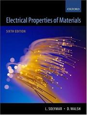Cover of: Electrical properties of materials