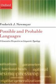 Cover of: Possible and probable languages