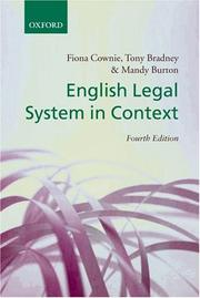 Cover of: English Legal System in Context | Fiona Cownie