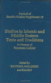 Cover of: Studies in Islamic and Middle Eastern texts and traditions in memory of Norman Calder