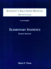 Cover of: Student's Solution Manual to Accompany Elementary Statistics