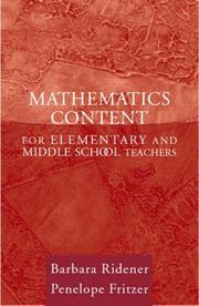 Cover of: Mathematics Content for Elementary and Middle School Teachers | Barbara Ridener