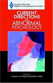Cover of: Current Directions in Abnormal Psychology