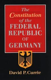 Cover of: The Constitution of the Federal Republic of Germany