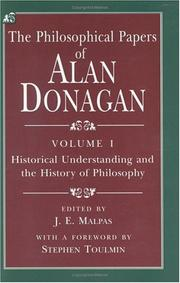 Cover of: The Philosophical Papers of Alan Donagan, Volume 1