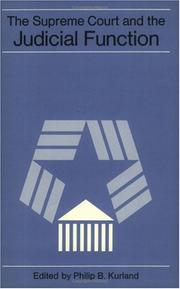 Cover of: The Supreme Court and the judical function