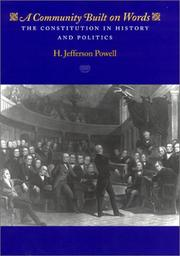Cover of: A Community Built on Words | H. Jefferson Powell