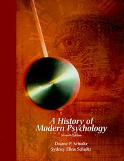 Cover of: A history of modern psychology | Duane P. Schultz