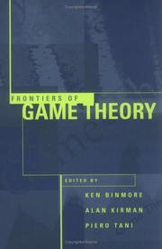 Cover of: Frontiers of game theory