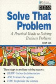 Cover of: A Practical Guide to Solving Business Problems (Institute of Management)