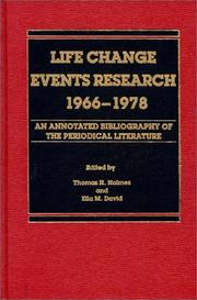 Cover of: Life Change Events Research, 1966-1978 | Thomas E. Holmes
